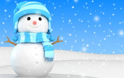 snowman, 3d art, winter, snow, Christmas, Xmas