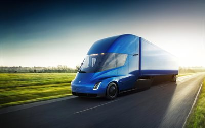 Tesla Semi Truck, 4k, road, 2018 truck, electric truck, trucks, Tesla