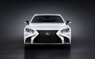 Lexus LS 500, 2018, White LS, luxury sedan, front view, Japanese car, Lexus