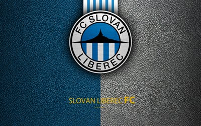 FC Slovan Liberec, 4k, Czech football club, logo, emblem, leather texture, Liberec, Czech Republic, football, 1 Liga, Czech football championship