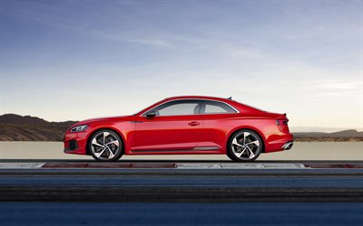 Audi RS5, 2018, side view, red coupe, German cars, Audi