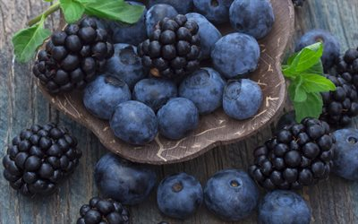 blueberries, blackberries, macro, forest berries
