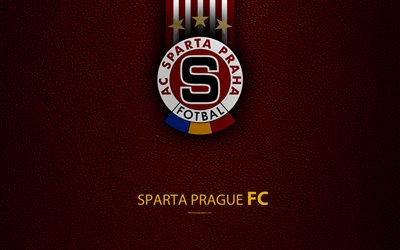 FC Sparta Prague, 4k, Czech football club, Sparta logo, emblem, leather texture, Prague, Czech Republic, football, 1 Liga, Czech Football Championship