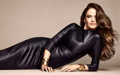 Eva Green, French actress, photo shoot, black leather dress