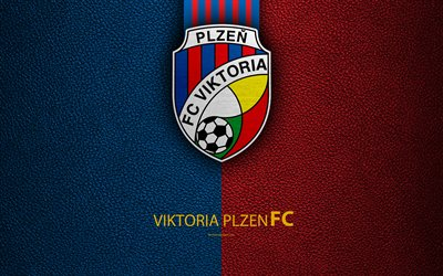 Viktoria Plzen FC, 4k, Czech football club, logo, emblem, leather texture, Pilsen, Czech Republic, football, 1 Liga, Czech football championship