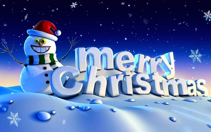 Buon Natale 3d.Scarica Sfondi Buon Natale Pupazzo Di Neve 3d Arte Happy New Year