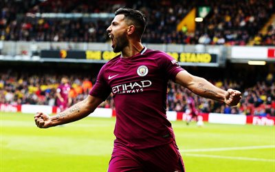 Sergio Aguero, 4k, joy, football stars, Man City, soccer, Manchester City, Premier League