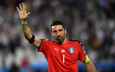 Gianluigi Buffon, 4k, Italian goalkeeper, football, Italy, portrait