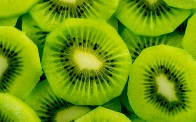 kiwi, 4k, fruits, close-up, exotic fruit