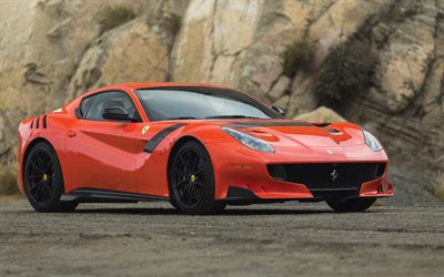 Ferrari F12 tdf, 2017, sports coupe, orange Ferrari, italian cars, tuning F12, black wheels, Ferrari