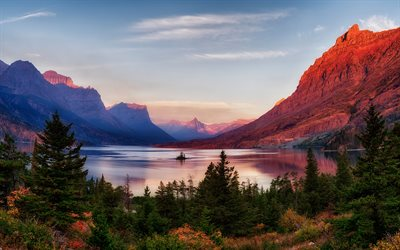 mountain landscape, sunset, mountain lake, golden sunset, forest, Glacier National Park, Montana, USA
