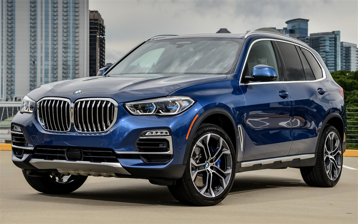 Download Wallpapers Bmw X5 2019 Blue Suv Front View New Blue X5