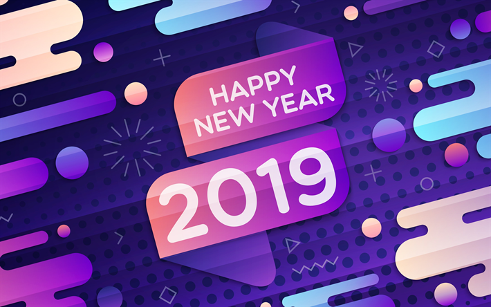 Download wallpapers Happy New Year 2019, abstract art, creative