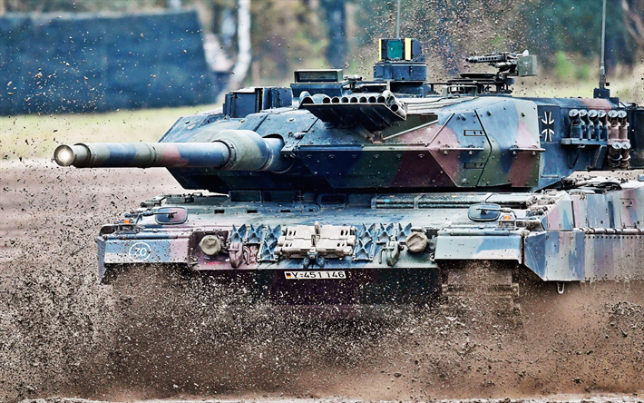 Leopard 2A7, German main battle tank, training ground, German modern armored vehicles, Germany, Leopard 2, Bundeswehr