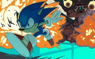 Sonic, artwork, Doctor Eggman, Sonic the Hedgehog, running sonic, explosion