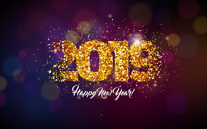4k happy new year 2019 violet background golden glitter creative 2019