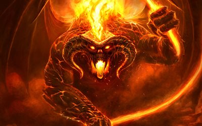 The Lord of the Rings, fiery monster, art, flame, fire, monster, Moria