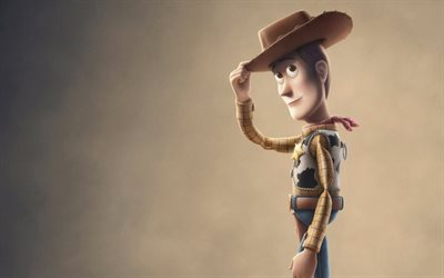 Toy Story 4, 2019, 4k, Woody, poster, promo, new cartoons, Sheriff Woody
