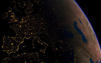 Earth at night from space, cities from space, city lights, continents, Earth, planet, Europe from space
