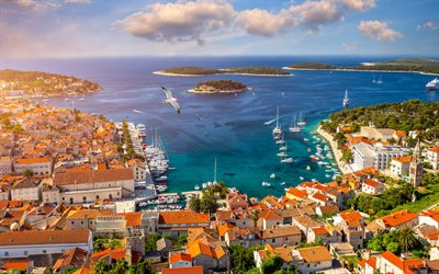 Hvar, Adriatic Sea, Croatian resorts, coast, Hvar cityscape, sea, Croatia