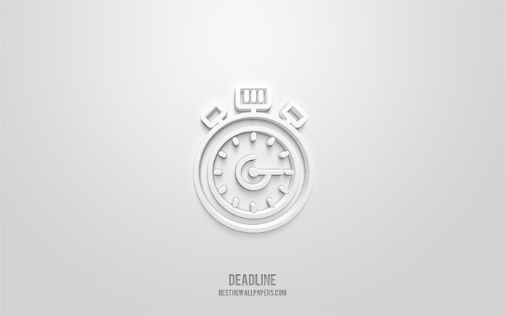 Deadline 3d icon, white background, 3d symbols, Deadline, creative 3d art, 3d icons, Deadline sign, Business 3d icons