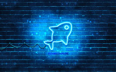 Fish neon icon, 4k, blue background, neon symbols, Fish, creative, neon icons, Fish sign, animals signs, Fish icon, animals icons