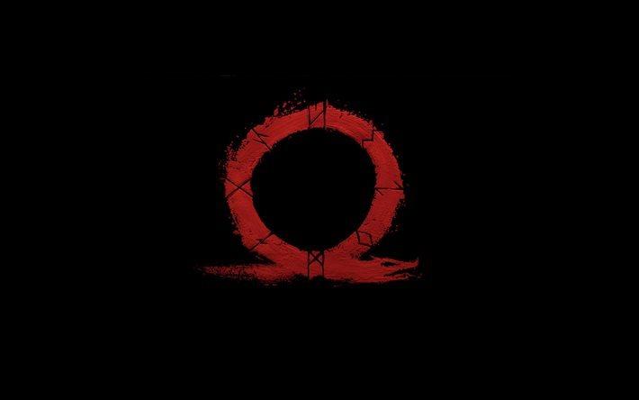 Download Wallpapers God Of War 4 New Omega Logo Black Background