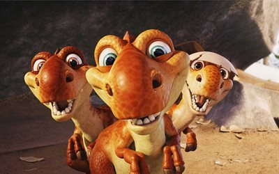 Ice Age 3, cartoon dinosaurs, Dawn of the Dinosaurs