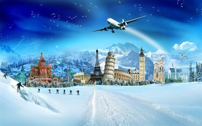 winter, world landmarks, travel, Christmas, New Year