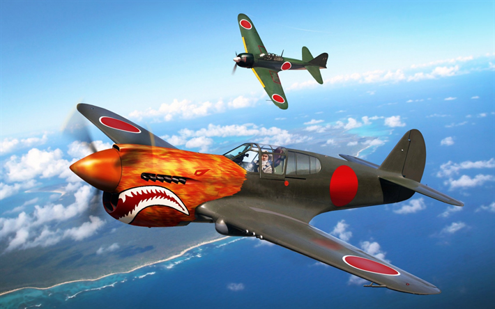 download wallpapers mitsubishi a6m zero, japanese fighter, world war