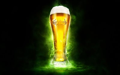 Carlsberg, 4k, beer, green smoke, glass