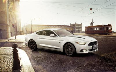 Ford Mustang, 4k, 2018 autoja, street, superautot, uusi Mustang, Ford