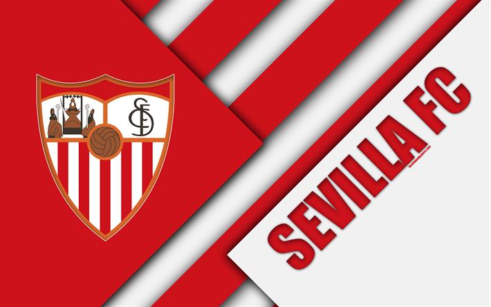 Download Wallpapers Sevilla Fc 4k Spanish Football Club Logo Material Design White Red Abstraction Football La Liga Sevilla Spain For Desktop Free Pictures For Desktop Free