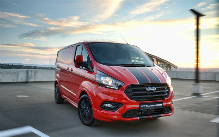 t l charger fonds d 39 cran ford transit custom parking 2018 voitures rouge van le nouveau. Black Bedroom Furniture Sets. Home Design Ideas