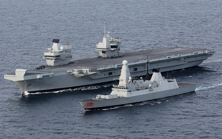 HMS Queen Elizabeth, R08, lead ship, nuclear aircraft carrier, HMS Dragon, D35, air-defence destroyer, Daring-class, Royal Navy, Great Britain