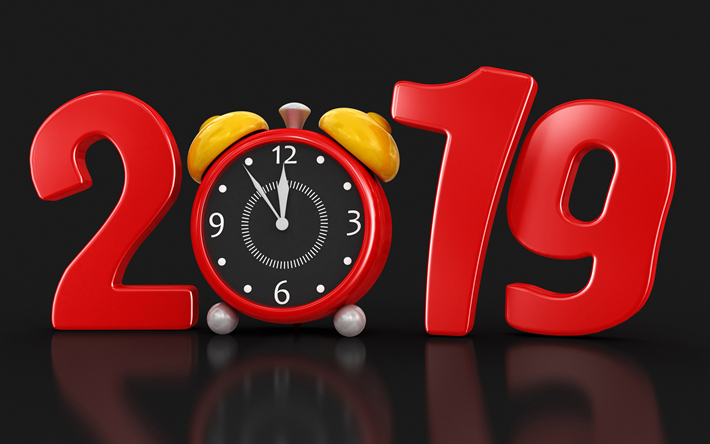 Download wallpapers 4k, 2019 3D digits, Happy New Year 2019, 2019