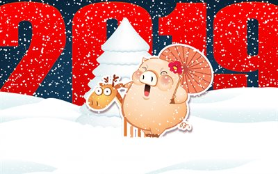 winter background, Happy New Year 2019, winter, snow, art, 2019 Year of the pig, cute pig, deer, New Year, 2019 concepts