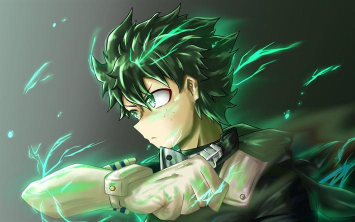 Download Wallpapers Midoriya Izuku Green Fire My Hero