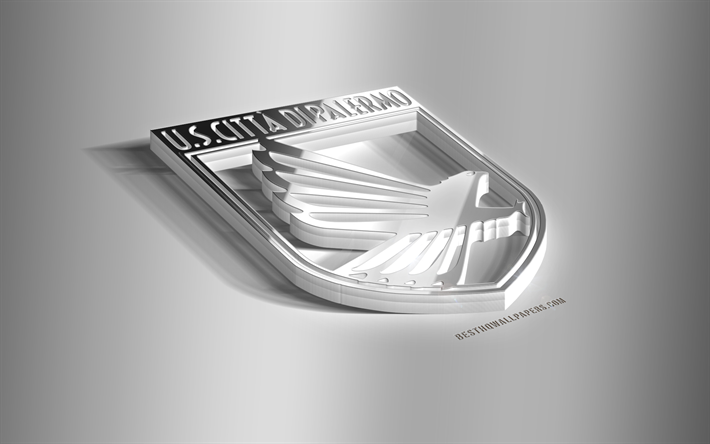 Download wallpapers US Palermo, 3D steel logo, Italian