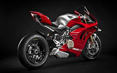 4k, Ducati Panigale V4 R, side view, 2019 bikes, superbikes, new Panigale, red motorcycle, Ducati