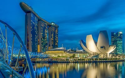 Marina Bay Sands, Singapore, dawn, morning, hotel, Asia
