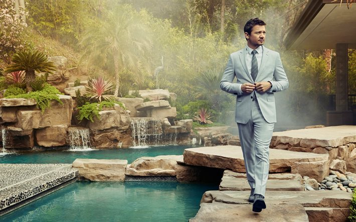 Jeremy Renner, American actor, man in a suit, swimming pool