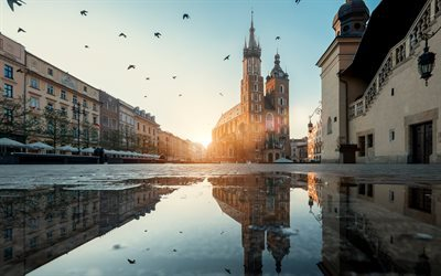 St Mary Church, Morning, Square, Krakow, puddles, Poland