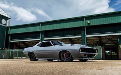 Plymouth Barracuda, 1970, tuning Plymouth, gray Barracuda, sports cars, Forgeline Wheels, Dropkick, Barrett-Jackson