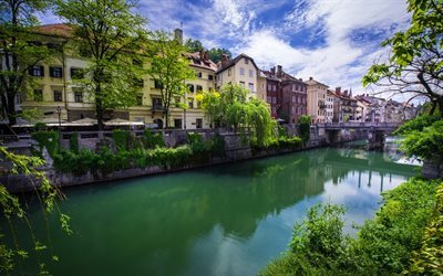 Ljubljana, summer, bridge, house, Slovenia