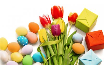 Happy Easter, bouquet of tulips, spring decoration, decorated eggs, gifts, easter decoration