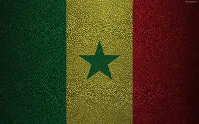 Flag of Senegal, Africa, 4K, leather texture, Senegalese flag, flags of African countries, Senegal