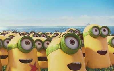 Minions, beach, Despicable Me, 3D-animation, Funny Minions