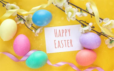 Happy Easter, Easter eggs, spring, cherry blossom, colorful eggs, congratulations
