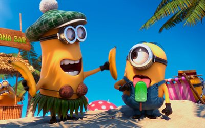 Minions, 4k, sea, Despicable Me, beach, 3D-animation, Funny Minions